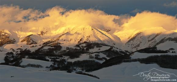 Rocky Mountain Sunset winter Whiterock storm stormy sky clouds