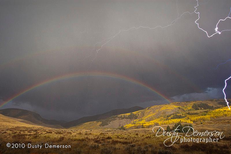 lightning and a rainbow