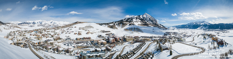 Mount Crested Butte Winter Aerial Panorama 2020