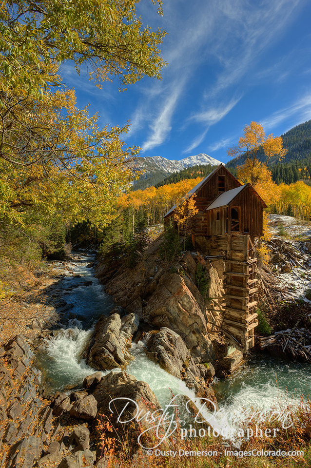 The historic and famous Crystal Mill along the Crystal River between the Colorado towns of Crystal and Marble. While not actually a mill, the historic building actually provided compressed air to run local mining operations on Sheep Mountain.