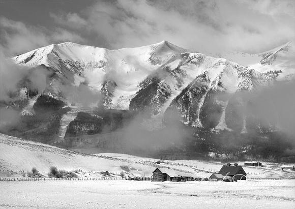 Black and white of spring snow on Whetstone Mountain