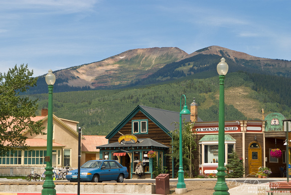 colorado stock photo - Mount emmons and shops
