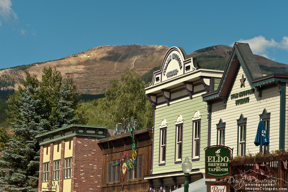 colorado stock photography - storefronts and mount emmons