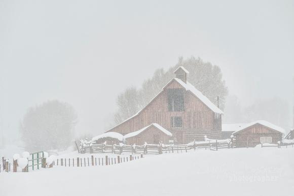 iconic estess barn in snow